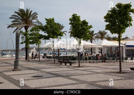 Portugal, Algarve, Portimao, Cafes on Largo 1 De Dezembro - Stock Image