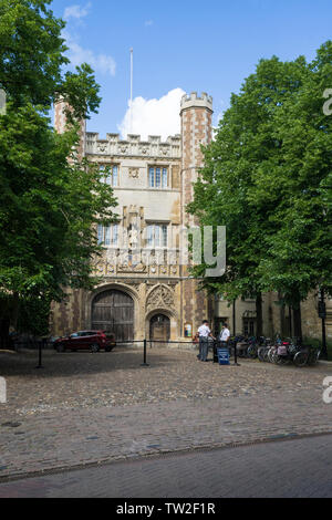 Trinity college main gate from St Johns Street Cambridge 2019 - Stock Image