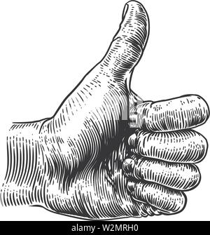 Thumb Up Hand Sign Retro Vintage Woodcut - Stock Image