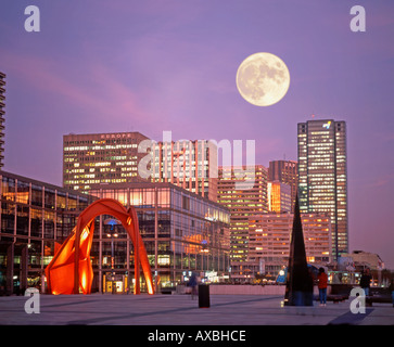 France Paris La Defense Calder red metal sculpture skyline full moon - Stock Image