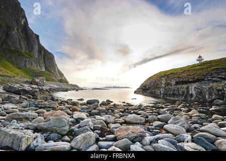 Børra lighthouse on Andøya, an island belonging to the Vesterålen archipelago in northern Norway. - Stock Image