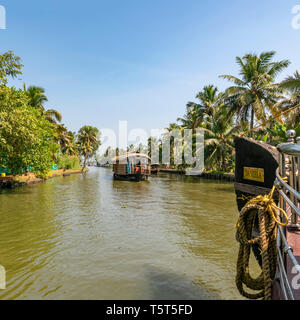 Square view of traditional riceboats in Kerala, India. - Stock Image