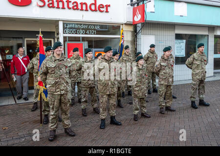 Trowbridge, Wiltshire, UK. 11th Nov, 2018. Army cadets preparing for Remembrance Parade Credit Estelle Bowden/Alamy Live news - Stock Image
