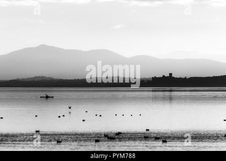 Beautiful view of Trasimeno lake at sunset with birds on water, a man on a canoe and Castiglione del Lago town in the background - Stock Image