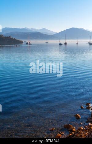 Aegean sea harbor, Fethiye, Mugla Province, Turkey - Stock Image