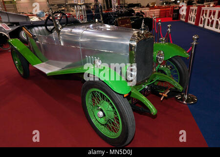 Three-quarter front view of a 1923  Alvis 12/40 Ducks Back Tourer, on display on the Vintage and Prestige  Stand, at the 2018 London Classic Car how - Stock Image