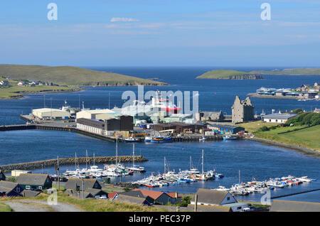 Scalloway harbor and Castle, Scalloway, Mainland, Shetland Islands, Scotland, UK 180701_73752 - Stock Image