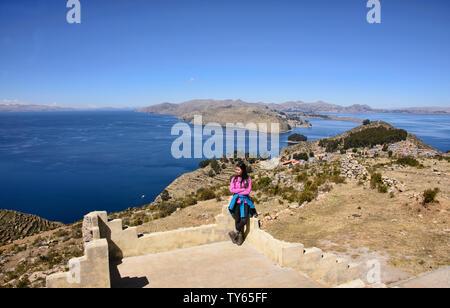 Panoramic view of Yumani village and Lake Titicaca, Isla del Sol, Bolivia - Stock Image