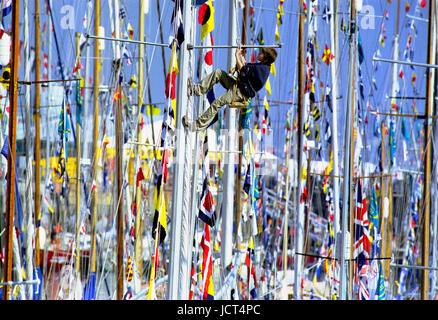 The International  Festival of the Sea involving 1000 boats,  was held Portsmouth Naval Dockyard in 2001. A boy - Stock Image