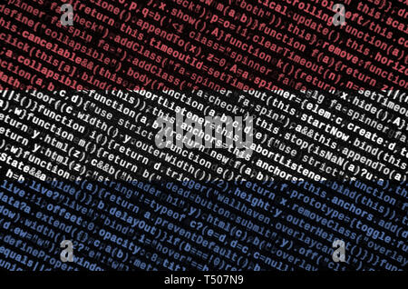 Netherlands flag  is depicted on the screen with the program code. The concept of modern technology and site development. - Stock Image
