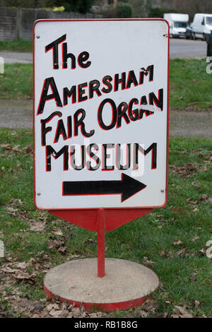Sign board outside the Amersham Fair Organ Museum in Buckinghamshire, UK - Stock Image