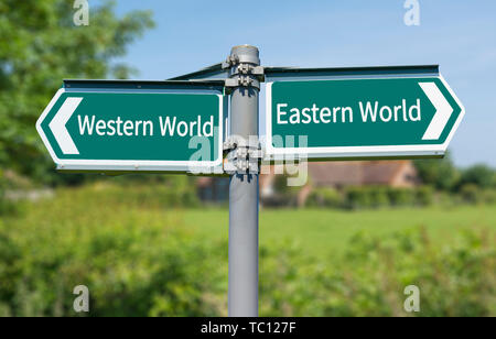 Direction sign showing option of Western World ('The West') or Eastern World ('The East'). - Stock Image