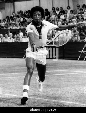 Jun 14, 1975; Beckenham, UK; Tennis star ARTHUR ASHE from the United States in action against Roscoe Tanner (USA) in the final of the men's singles at Beckenham today. - Stock Image