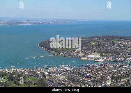 Panoramic aerial view of Cowes and East Cowes on the Isle of Wight featuring the ferry terminal and the boat yards - Stock Image