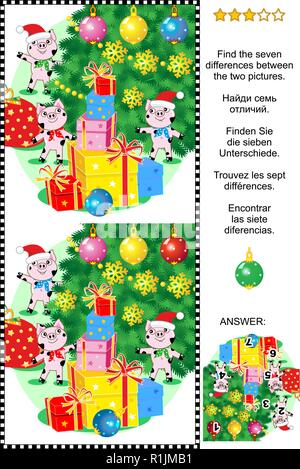 Winter holidays themed visual puzzle: Find the seven differences between the two pictures of cute little pigs, christmas tree and presents. - Stock Image