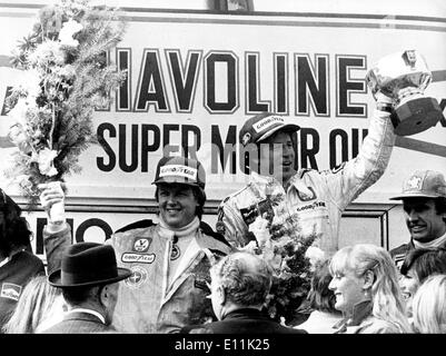 Italian-American driver MARIO ANDRETTI wins Grand Prix race in Belgium, 2nd Swedish RONNIE PETTERSON (L) - Stock Image