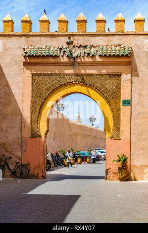 Gate in the Medina of Marrakech, Morocco - Stock Image