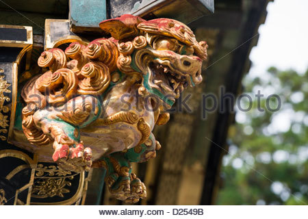 Statue of a dragon on the gate of the Honsha at Toshogu Shrine Nikko Japan - Stock Image