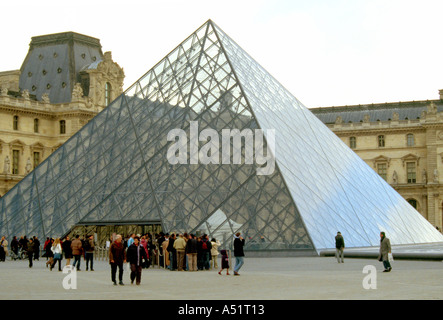 Glass Pyramid Outside the Musee du Louvre The Louvre Paris Ile de France - Stock Image