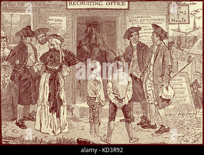 Revolutionary recruting office for American privateers, New London, Connecticut. American Revolution, 1765 - 1783. - Stock Image