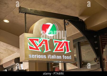Hip advertising LED advertising sign for Saza, serious Italian food, restaurant in Montgomery Alabama, USA. - Stock Image