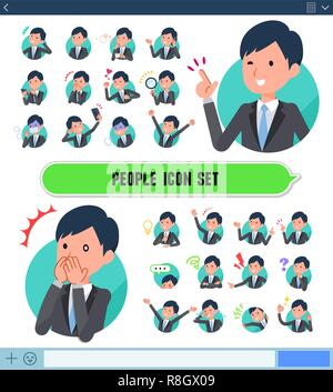 A set of businessman with expresses various emotions on the SNS screen.There are variations of emotions such as joy and sadness.It's vector art so it' - Stock Image