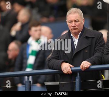 Hampden Park, Glasgow, UK. 14th Apr, 2019. Scottish Cup football, semi final, Aberdeen versus Celtic; Ex Rangers star Ally McCoist watches on Credit: Action Plus Sports/Alamy Live News - Stock Image