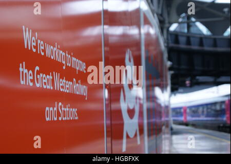 Network Rail hoardings at London Paddington station as part of a station improvement scheme in September 2016. - Stock Image