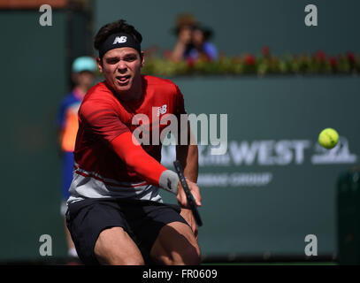 March 20, 2016: Milos Raonic of Canada in action as he plays Novak Djokovic in the ATP Singles Final during the - Stock Image