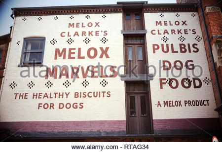 Vintage style painted wall advertisement for Melox dog biscuits. Digbeth, central Birmingham, West Midlands, UK. - Stock Image
