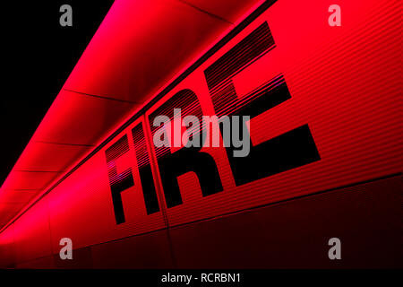 Fire,Sign,Warning,Red, - Stock Image