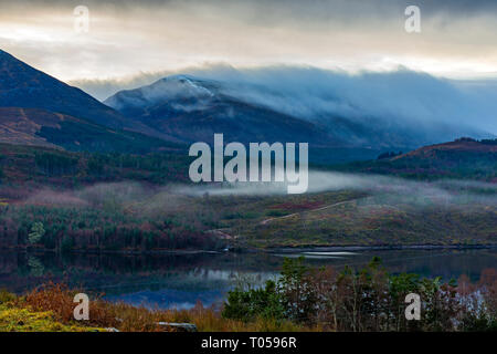 Meall a' Choire Ghlais over Loch Garry, Glen Garry, Highland region, Scotland, UK - Stock Image
