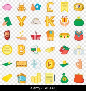 Money heap icons set, cartoon style - Stock Image