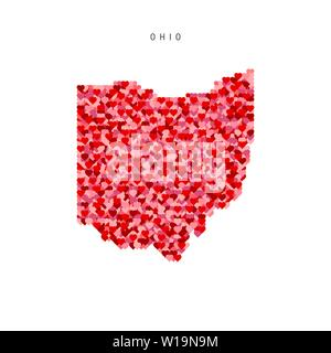 I Love Ohio. Red Hearts Pattern Vector Map of Ohio - Stock Image