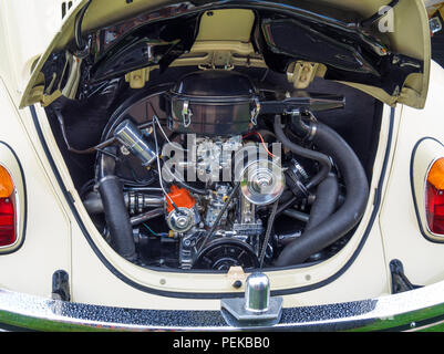Immaculately clean engine compartment of a traditional 4 cylinder air cooled Volkswagen Car - Stock Image