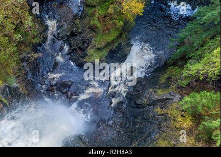 Plodda Falls in Glen Affric, Highlands, Scotland - Stock Image