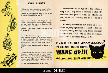 Royal Society for the Prevention of Accidents leaflet, undated but probably 1950s, warning of dangers of sleeping - Stock Image