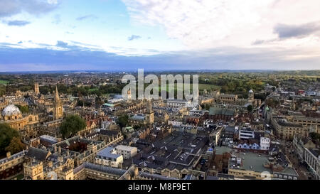 Oxford City Aerial Panoramic View feat. Famous Education Iconic Oxford University and Historic College Buildings - Stock Image