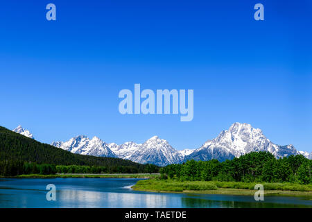 Mt. Moran and the Snake River in Grand Teton National Park near Jackson Hole, Wyoming USA. - Stock Image