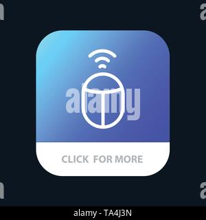 Mouse, Wifi, Computer Mobile App Button. Android and IOS Line Version - Stock Image