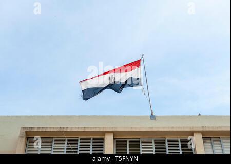 Israel, Tel Aviv-Yafo - 5 April 2019: Egyptian flag above the embassy of Egypt in Tel Aviv - Stock Image