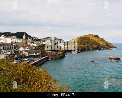 View from Lantern Hill across eastern Ilfracombe to Capstone Rock. St Phillip and St James Church middle left - Stock Image