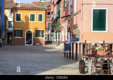 Waiting - Burano island, Venice, Italy - Stock Image