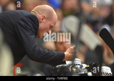 Toni Soederholm, coach of Germany, speaks to players during the Euro Hockey Challenge match Czech Republic vs Germany in Karlovy Vary, Czech Republic, April 18, 2019. (CTK Photo/Slavomir Kubes) - Stock Image