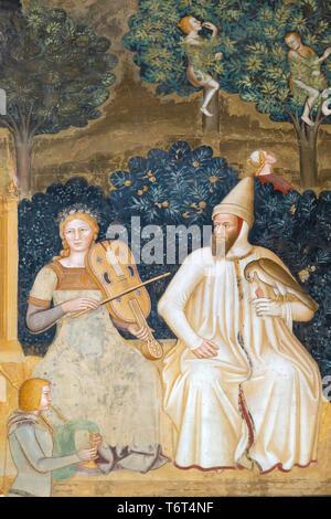 The Church Militant and The Church Triumphant, La Chiesa Militante and Triunfante, detail, Andrea di Bonaiuto, 1365-1367,  Chapter House, Cappellone d - Stock Image