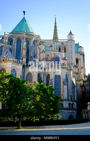 he east Facade of Chartres Cathedral France - Stock Image