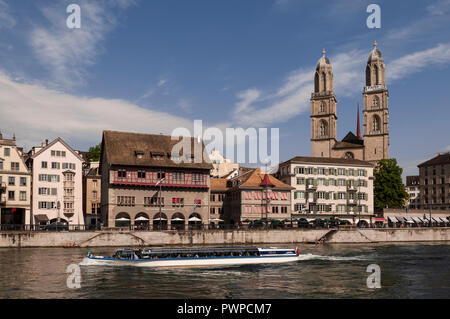 Switzerland, Zurich canton, city of Zurich, Grossmunster cathedral in the old town - Stock Image