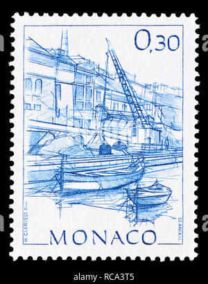 Monaco postage stamp (1984): Early Views of Monaco definitive series: Quai du Commerce - Stock Image