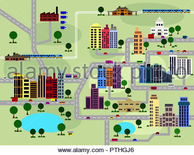 Layout of roads and buildings in city - Stock Image