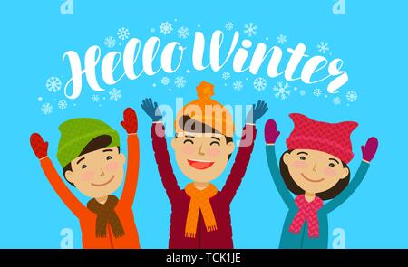 Hello Winter, banner. Happy children enjoy the snow. Cartoon vector illustration - Stock Image